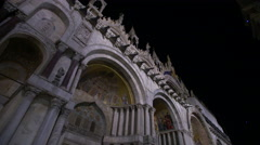Night video of the domes of St. Mark's Cathedral in Venice, Italy Stock Footage