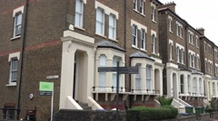 Row of English style brick houses in London Stock Footage