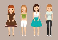 Girls teenagers cartoons design Stock Illustration