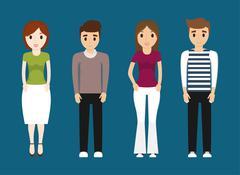 Girls and boys teenagers cartoons design Stock Illustration