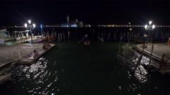 Venice gondolas at night Stock Footage