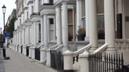 Beautiful mansions at London Earls Court Stock Footage