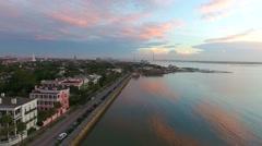 4k Aerial of Rainbow Row In Charleston SC at Sunrise Stock Footage