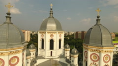 Aerial view of a Gothic cathedral Stock Footage