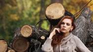 Beauty girl in autumn park Stock Footage