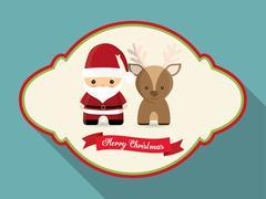 Santa with reindeer of Christmas season design Stock Illustration