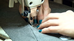 Female Seamer Working on Sewing Machine. Seamstress Stitching, Rotating Dress Stock Footage