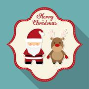 Santa with reindeer of Christmas season design Stock Illustration