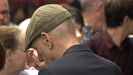 Actor Patrick Stewart writes autographs at a London Theatre Stock Footage