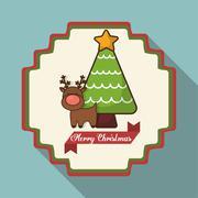 Pine tree and reindeer of Christmas season design Stock Illustration