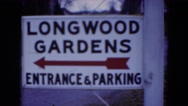 1949: sign to longwood gardens and parking MIDDLETOWN Stock Footage