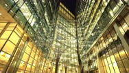 Amazing Canary Wharf buildings by night Stock Footage