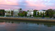 4k Aerial of Rainbow Row In Charleston SC at Sunrise Stock Footage