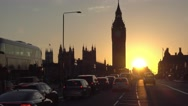 Beautiful sunset behind Westminster Houses of Parliament Stock Footage