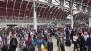 Passengers waiting at Paddington Station in London Stock Footage