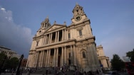 Wide angle view on St Pauls Cathedral in London Stock Footage