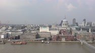 Aerial view over St Pauls Cathedral and City of London Stock Footage