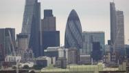 City of London Skyline with The Gherkin St Marys Axe Stock Footage