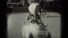 1949: beautiful girl drawing fabulous new model of toy vehicle MIDDLETOWN Stock Footage