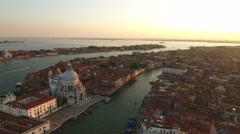 Aerial view of Venice panoramic landmark Stock Footage