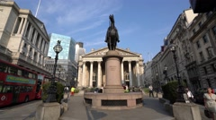 Wellington statue at Royal Exchange in London Stock Footage
