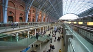 The architecture of St Pancras International Station in London Stock Footage