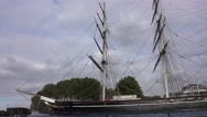 Tourist Attraction in Greenwich - Cutty Sark sailing ship Stock Footage