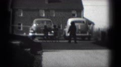 1949: two beautiful kids riding bicycles along the road on sunny day MIDDLETOWN Stock Footage