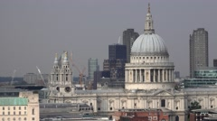 St Pauls cathedral - amazing view from Tate Modern Stock Footage