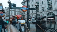 London Underground Station at Piccadilly Circus on a rainy day Stock Footage