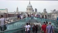 Famous Millennium Bridge in London Stock Footage