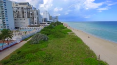 Aerial Miami Beach low flyover Stock Footage