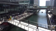Churchill Place at Canary Wharf - beautiful place to relax Stock Footage