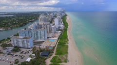 Aerial Miami Beach hotels resorts condominiums Stock Footage