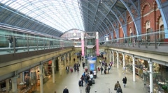 Wide angle view over London St Pancras International station Stock Footage