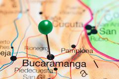 Bucaramanga pinned on a map of Colombia Stock Photos