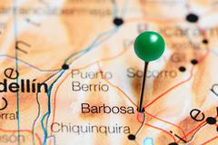 Barbosa pinned on a map of Colombia Stock Photos
