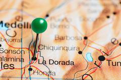 La Dorada pinned on a map of Colombia Stock Photos
