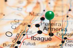 Ibague pinned on a map of Colombia Stock Photos