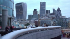 The skyline of the City of London - view from More London Riverside Stock Footage