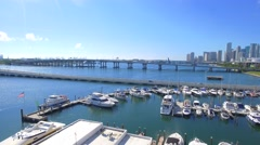 Aerial shot of the Venetian Causeway Miami Stock Footage