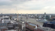 Typical wide angle aerial view over London on a cloudy day Stock Footage