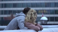 Couple in love at Tower Bridge London Stock Footage