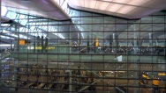 Glass front of Terminal 2 - The Queens Terminal at London Heathrow Airport Stock Footage