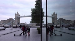 Modern and ancient architecture at More London Riverside Stock Footage
