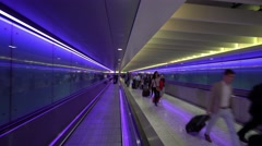 Futuristic Footwalk to Terminal 3 at London Heathrow Airport Stock Footage
