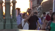Tourists doing selfies at Westminster Bridge Stock Footage