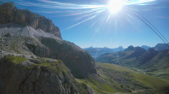 Scenic view from cable car in dolomites Stock Footage