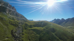 View from cable car in Dolomites, Italy Stock Footage
