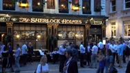 Beautiful Sherlock Holmes Pub in London in the evening Stock Footage
